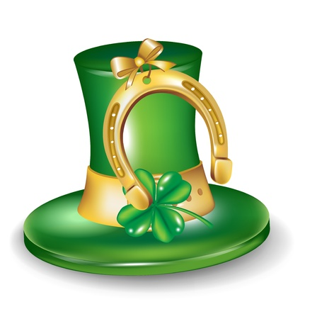 st patrick hat with horseshoe isolated Vector