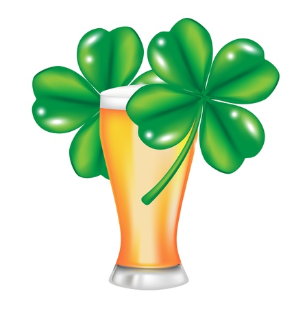 glass of beer and four leaf clover isolated Vector
