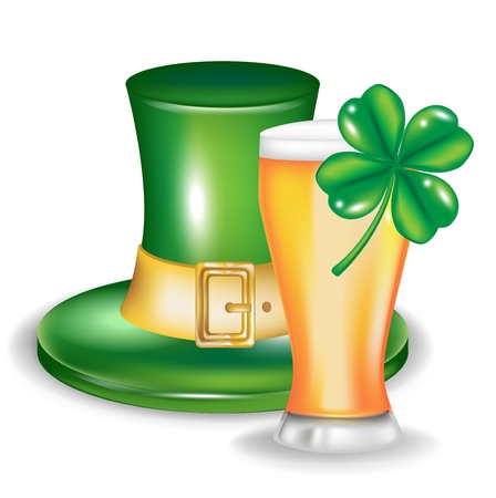 t patrick hat with glass of beer and clover isolated Vector