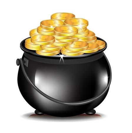 Goldmünzen in schwarz Topf isoliert