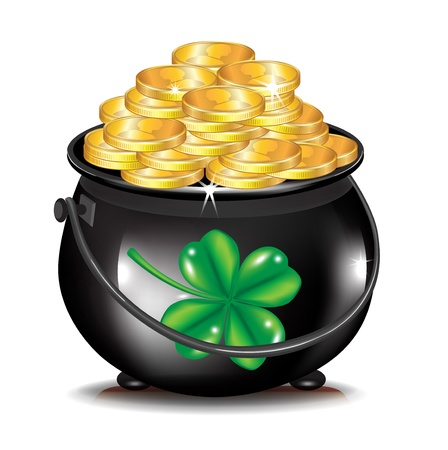 golden coins in black pot and clover isolated Illustration