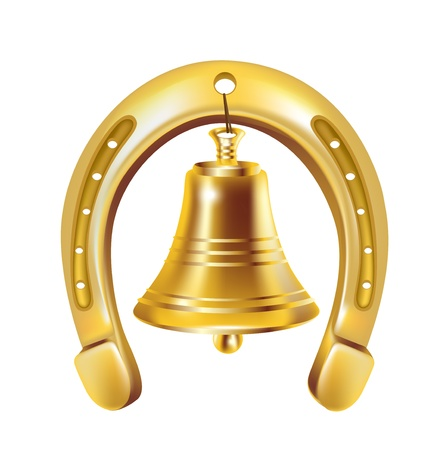 Chanceux cloche en fer à cheval et doré isolé Banque d'images - 14969068