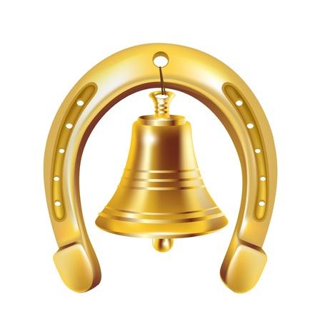 superstitious: fortunato ferro di cavallo e Golden Bell isolato Vettoriali