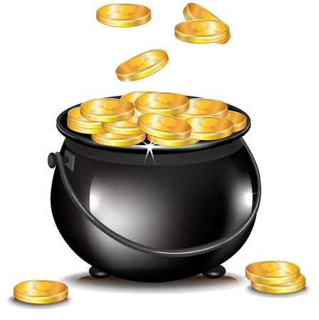 golden pot: golden coins falling in black pot isolated