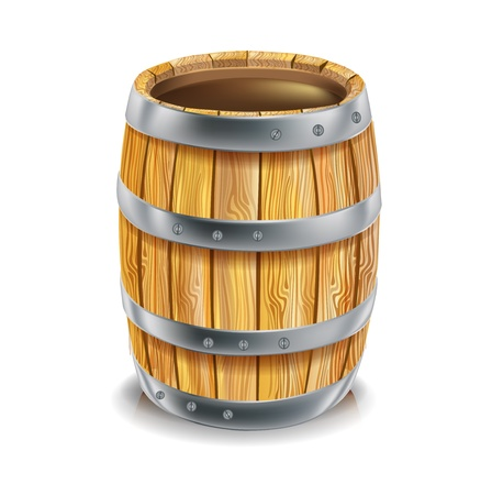 single wooden barrel isolated on white