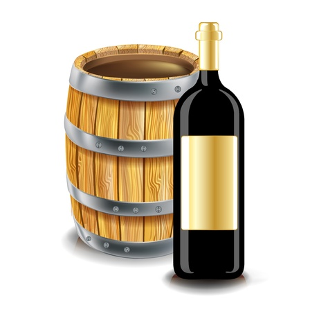 tun: wooden barrel and bottle of wine Illustration