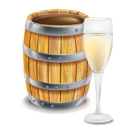 oak barrel: wooden barre; and wine glass isolated