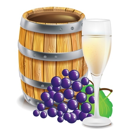 oak barrel: wooden barre; with glass and grapes isolated