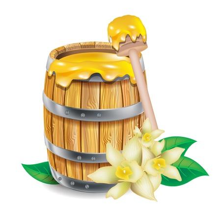 Fass mit Honig isoliert auf weiß Standard-Bild - 14969197