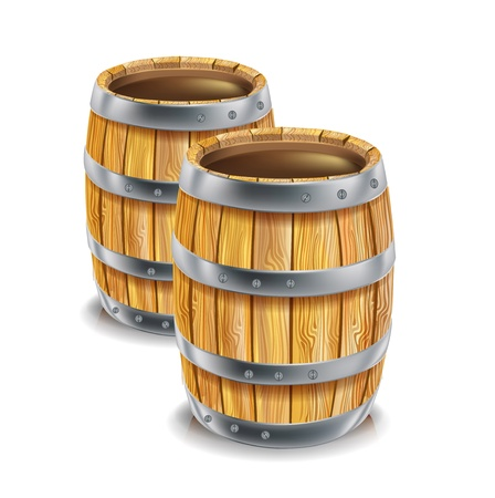 two wooden barrels isolated Vector