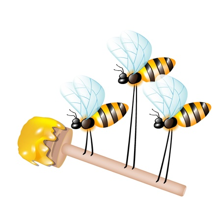 sugar spoon: wooden dipper with honey carried by three bees isolated Illustration