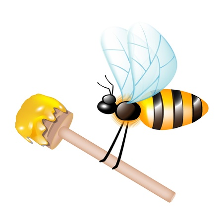 dipper: wooden dipper with honey carried by bee isolated