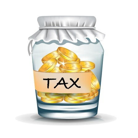 jar with coins isolated on white; tax concept Vector