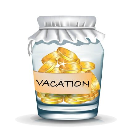 jar with coins isolated; vacation savings concept Vector