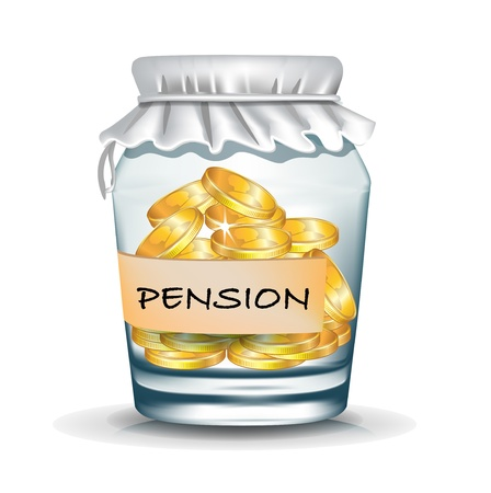 pension: jar with coins isolated; pension savings concept