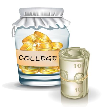 jar with coins isolated; college savings concept Vector