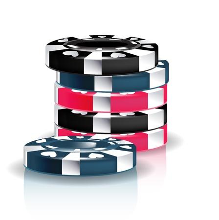folded hands: poker chips stack isolated on white Illustration