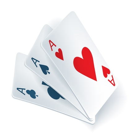 hand holding playing card: three aces in playing cards isolated on white Illustration