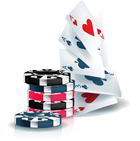 organized group: poker chips and playing cards isolated