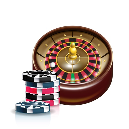 chips stack: casino roulette with stack of chips isolated Illustration