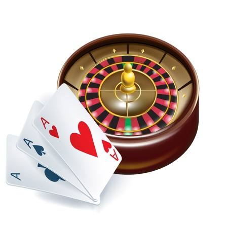 aces: casino roulette with playing cards isolated