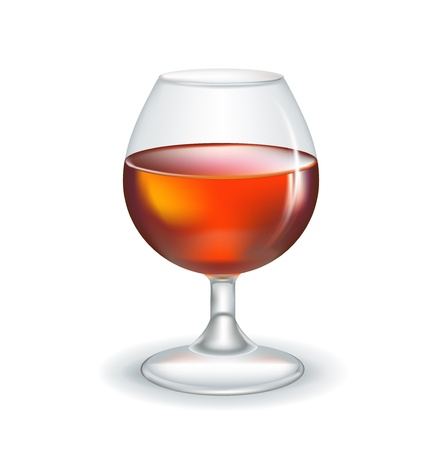 bourbon whisky: glass of brandy isolated on white background