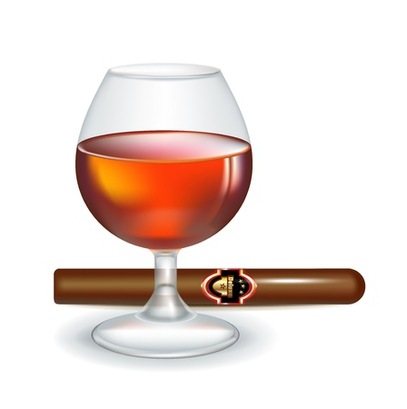 cigars: glass of brandy with cigar isolated on white Illustration