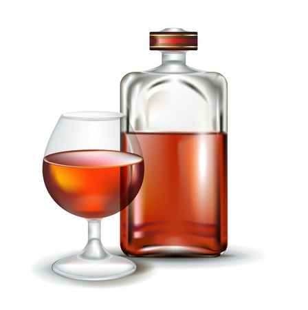 bourbon whisky: glass of brandy with bottle isolated on white Illustration