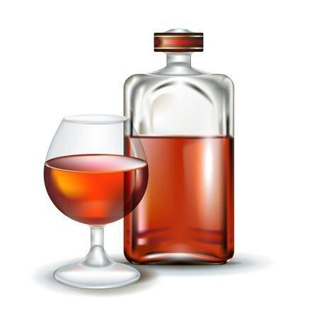 whisky bottle: glass of brandy with bottle isolated on white Illustration