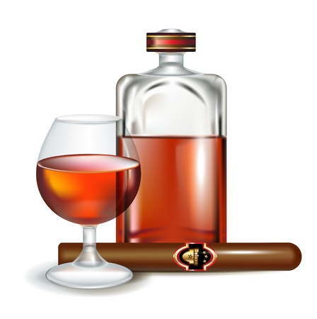havana cigar: glass of brandy with bottle and cigar isolated