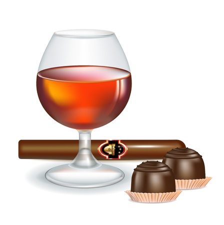 havana cuba: glass of brandy with cigar and chocolate candy isolated