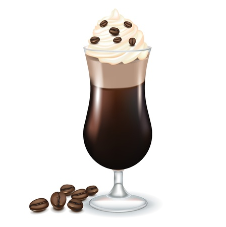 chocolate syrup: latte coffee with cream and coffee beans isolated on white Illustration