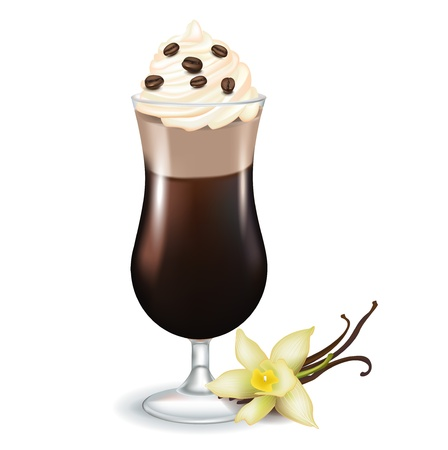 ice cream vanilla: latte coffee with cream coffee beans and flower isolated Illustration