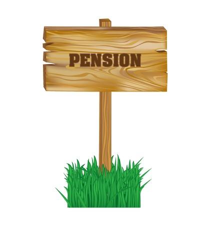 pensioen: houten bord met pensioen concept geïsoleerd