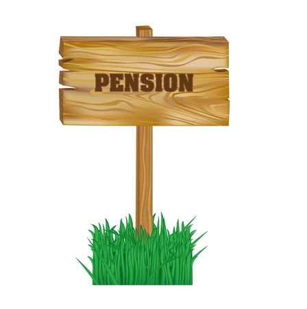 wooden sign with pension concept isolated Illustration