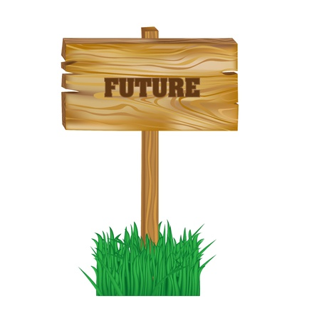 sig: wooden sig with future concept isolated