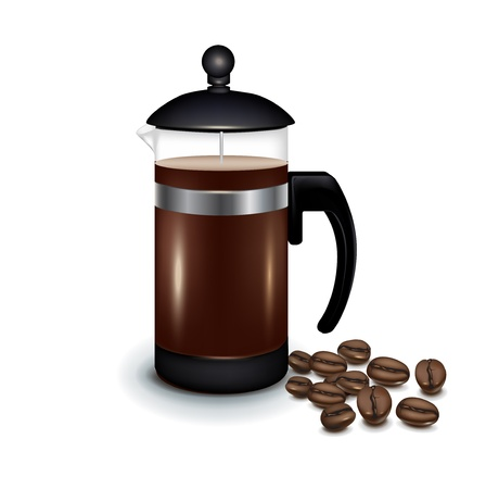 french bean: coffee maker with coffee beans isolated on white Illustration