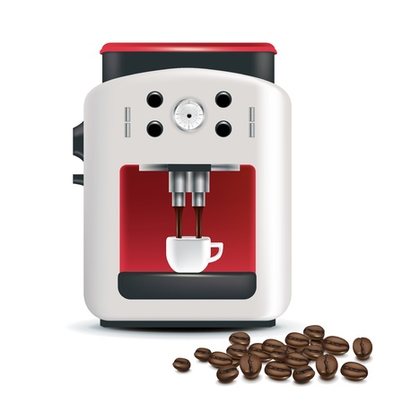 coffee machine and beans isolated on white Illustration