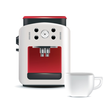 coffee machine and coffee cup isolated Illustration