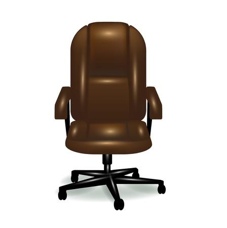 leather chair: sedia da ufficio in pelle marrone ergonomica isolata