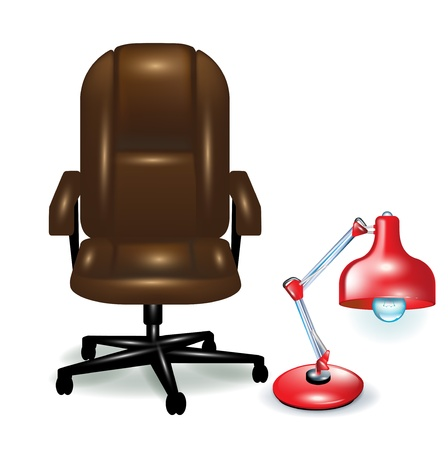 office ergonomic chair and red lamp isolated Vector