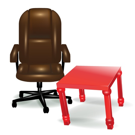 office ergonomic chair and red table isolated Vector