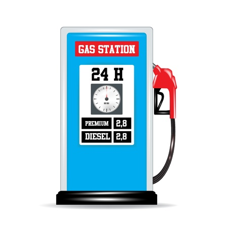 gas pump nozzle and gas station isolated Stock Vector - 20191774