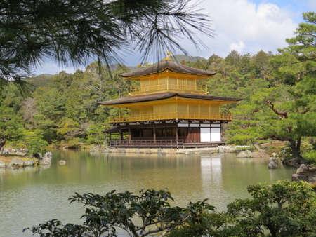 pavillion: Golden pavillion in a Japanese ornamental garden Editorial
