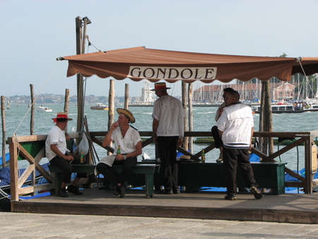 gondoliers: Gondoliers relaxing whilst waiting for tourists
