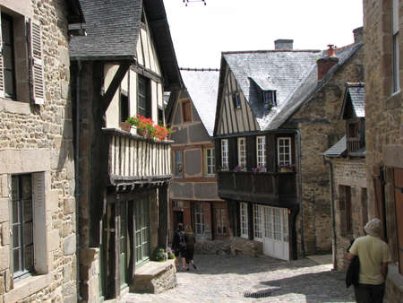 dinan: View of a street in the medievil town of Dinan, France