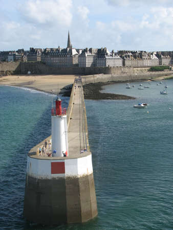 st  malo: St Malo viewed from the Portsmouth to St Malo cross channel ferry Stock Photo