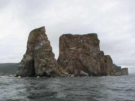 View of the Perce Rock (Roche Perce) just off the coast of the Canadian town of Perce