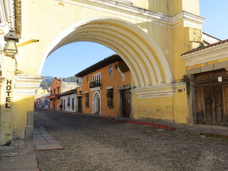 former: Street scene in Antigua, Guatemala. Antigua was the former capitol of the country before Guatemala City