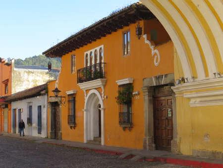 antigua: Street scene in Antigua, Guatemala. Antigua was the former capitol of the country before Guatemala City